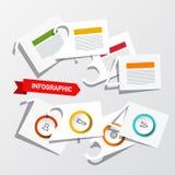 De Lay-out van vier Stappeninfographic met Document sneed Aantallen, Pictogrammen en Steekproefteksten Vectorinfographicsontwerp stock illustratie