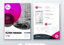 De lay-outontwerp van het vliegermalplaatje Bedrijfsvlieger, brochure, tijdschrift of vliegermodel in heldere kleuren met cirkelr vector illustratie