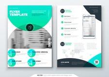 De lay-outontwerp van het vliegermalplaatje Bedrijfsvlieger, brochure, tijdschrift of vliegermodel in heldere kleuren met cirkelr royalty-vrije illustratie
