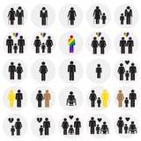 De leeftijd van de het rasrichtlijn van het mensengeslacht op cirkelsachtergrond die wordt geplaatst royalty-vrije illustratie