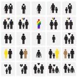 De leeftijd van de het rasrichtlijn van het mensengeslacht op vierkantenachtergrond die wordt geplaatst royalty-vrije illustratie