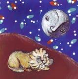 De leeuw en de maan in de fantastische woestijn Stock Foto