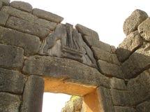 De Leeuw` s poort bij de Zuidelijke Ingang van de Mycenaean-Akropolis Ernstige Cirkel A, Mycenae royalty-vrije stock afbeelding
