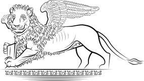 De Leeuw van de tekening met vleugels royalty-vrije illustratie