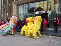 De leeuwdans, neemt aan de viering van Chinees Nieuwjaar deel Stock Foto's