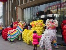 De leeuwdans, neemt aan de viering van Chinees Nieuwjaar deel Royalty-vrije Stock Foto's