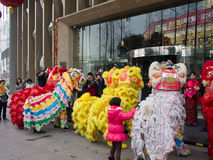 De leeuwdans, neemt aan de viering van Chinees Nieuwjaar deel Royalty-vrije Stock Foto