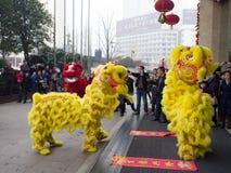 De leeuwdans, neemt aan de viering van Chinees Nieuwjaar deel Royalty-vrije Stock Afbeeldingen