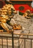 De leeuwen die van het paarbrons de ingang bewaken aan het binnenpaleis van de Verboden Stad Peking royalty-vrije stock afbeeldingen