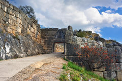 De Leeuwpoort in oude Mycenae, Griekenland royalty-vrije stock foto