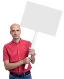 De lege banner van de mensenholding op stok Geïsoleerde royalty-vrije stock afbeelding