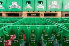 De lege bierflessen aranged in pakken in de partij van de brouwerijopslag Royalty-vrije Stock Afbeelding