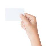 De lege die kaart van de handgreep met het knippen van weg wordt geïsoleerd stock foto's