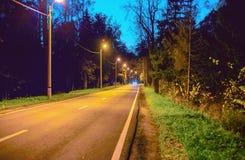De lege die weg in het hout bij nacht, door lampen wordt verlicht Stock Foto