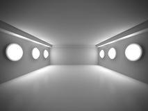 De lege Donkere Zaal met verfraait Lichten Binnenlandse achtergrond Royalty-vrije Stock Fotografie
