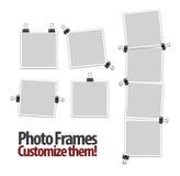 De lege frames van de polaroidfoto met klemmen Royalty-vrije Stock Afbeeldingen