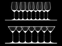 De lege glazen van de Wijn en van Martini Royalty-vrije Stock Foto