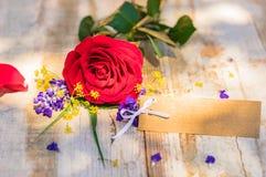 De lege groetkaart op rustieke houten lijst met mooie rood nam bloem toe royalty-vrije stock fotografie