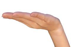 De lege hand steunt iets Stock Foto