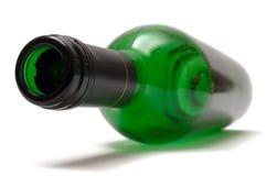 De lege het Liggen Fles van de Wijn Stock Foto's