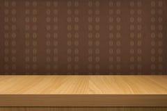De lege houten lijst over uitstekend behang met patroonkoffie is stock illustratie