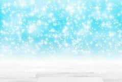 De lege houten lijst voor schittert lichtenachtergrond DE-geconcentreerde vage blauwe achtergrond Klaar voor product onecht UPS Stock Fotografie