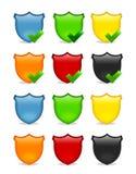 De lege multicolored reeks van het schildpictogram Stock Afbeeldingen