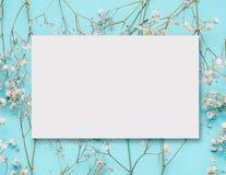 De lege witte lay-out van de groetkaart op kleine witte bloemen bij turkoois blauw stock afbeelding