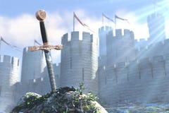 De Legende over koning Arthur en zwaard in een steen Stock Afbeelding