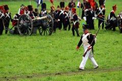 De legermilitairen in Borodino vechten het historische weer invoeren in Rusland Royalty-vrije Stock Foto