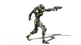 De legerrobot, strijdkrachten cyborg, militaire androïde militair die kanon op witte 3D achtergrond schieten, geeft terug royalty-vrije illustratie
