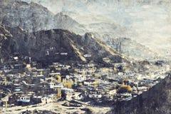 De Lehstad wordt gevestigd in het Indische Himalayagebergte bij een hoogte van 35 stock foto's