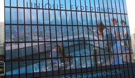 De LEIDENE vertoningen behandelt de voorgevel van de KUBUS royalty-vrije stock foto