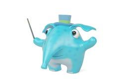 De leider van de beeldverhaalolifant tijdens overleg, 3D illustratie Royalty-vrije Stock Foto's
