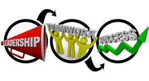 De leiding plus Groepswerk evenaart Succes Stock Afbeeldingen