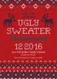 De lelijke partij van sweaterkerstmis nodigt uit Gebreide achtergrondpatroon Skandinavische ornamenten Royalty-vrije Stock Afbeelding