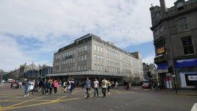 De Lengte van de tijdtijdspanne van Verkeer op Unie Straat in Aberdeen stock videobeelden