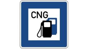 De lengte van een benzinepost met samengeperste aardgasverkeersteken, het schot komt in nadruk en gaat opnieuw van nadruk uit stock illustratie