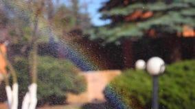 De lengte van de de tuinsproeier van de regenbooglente stock video