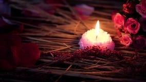 De lengtebeweging van bloembloemblaadjes, nam en kaars het branden toe De dag van de valentijnskaart stock footage