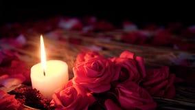 De lengtebeweging van roze bloemblaadjes, kaars het branden en bloem nam toe De dag van de valentijnskaart stock videobeelden