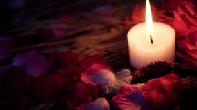 De lengtebeweging van roze bloemblaadjes, kaars het branden en bloem nam toe De dag van de valentijnskaart stock video