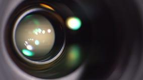 De lens van de camera Close-up stock video