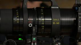 De lens van de film vastgestelde camera stock videobeelden