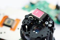 De lensclose-up van de reparatiecamera Stock Afbeeldingen