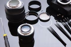 De lensdienst van de precisie past de optische foto, aan richt zich Stock Afbeelding
