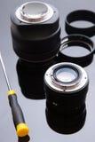 De lensdienst van de precisie past de optische foto, aan richt zich Stock Fotografie