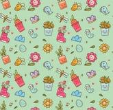 De lente als thema had naadloze achtergrond in de vector van de kawaiistijl royalty-vrije illustratie