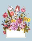 De lente Bloemen Retro Kaart in Uitstekende Stijl stock afbeelding