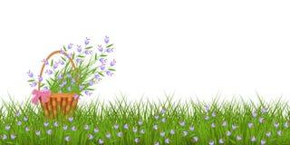 De lente bloemengrens met kleine blauwe wilde bloemen op vers groen gras en boeket in rieten mand stock illustratie
